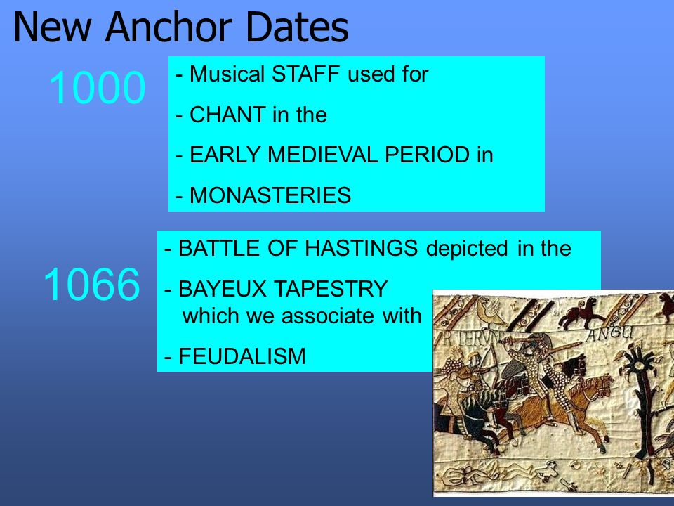New Anchor Dates 1000 - Musical STAFF used for - CHANT in the - EARLY MEDIEVAL PERIOD in - MONASTERIES 1066 - BATTLE OF HASTINGS depicted in the - BAYEUX TAPESTRY which we associate with - FEUDALISM