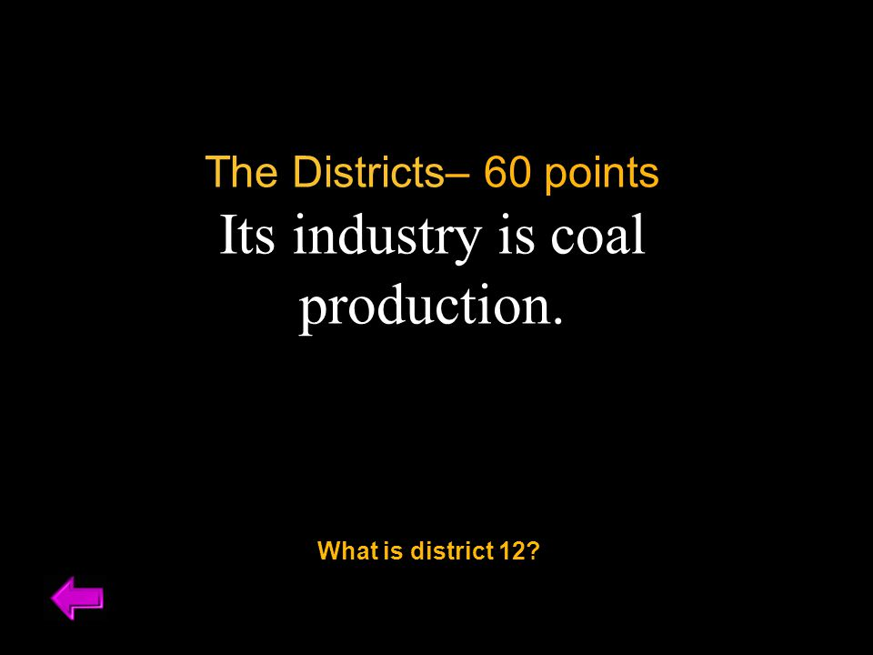 The Districts– 60 points Its industry is coal production. What is district 12