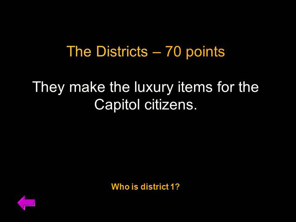 The Districts – 70 points They make the luxury items for the Capitol citizens. Who is district 1