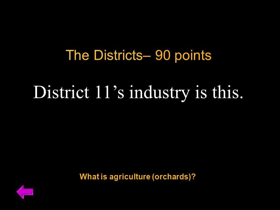 The Districts– 90 points District 11's industry is this. What is agriculture (orchards)