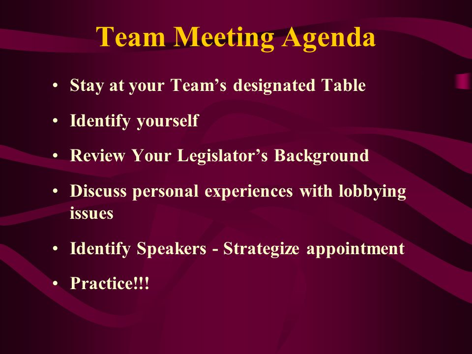 Team Meeting Agenda Stay at your Team's designated Table Identify yourself Review Your Legislator's Background Discuss personal experiences with lobbying issues Identify Speakers - Strategize appointment Practice!!!