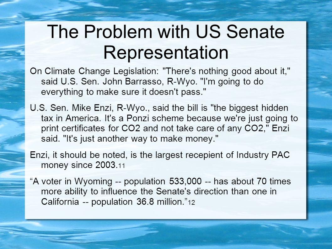 The Problem with US Senate Representation On Climate Change Legislation: