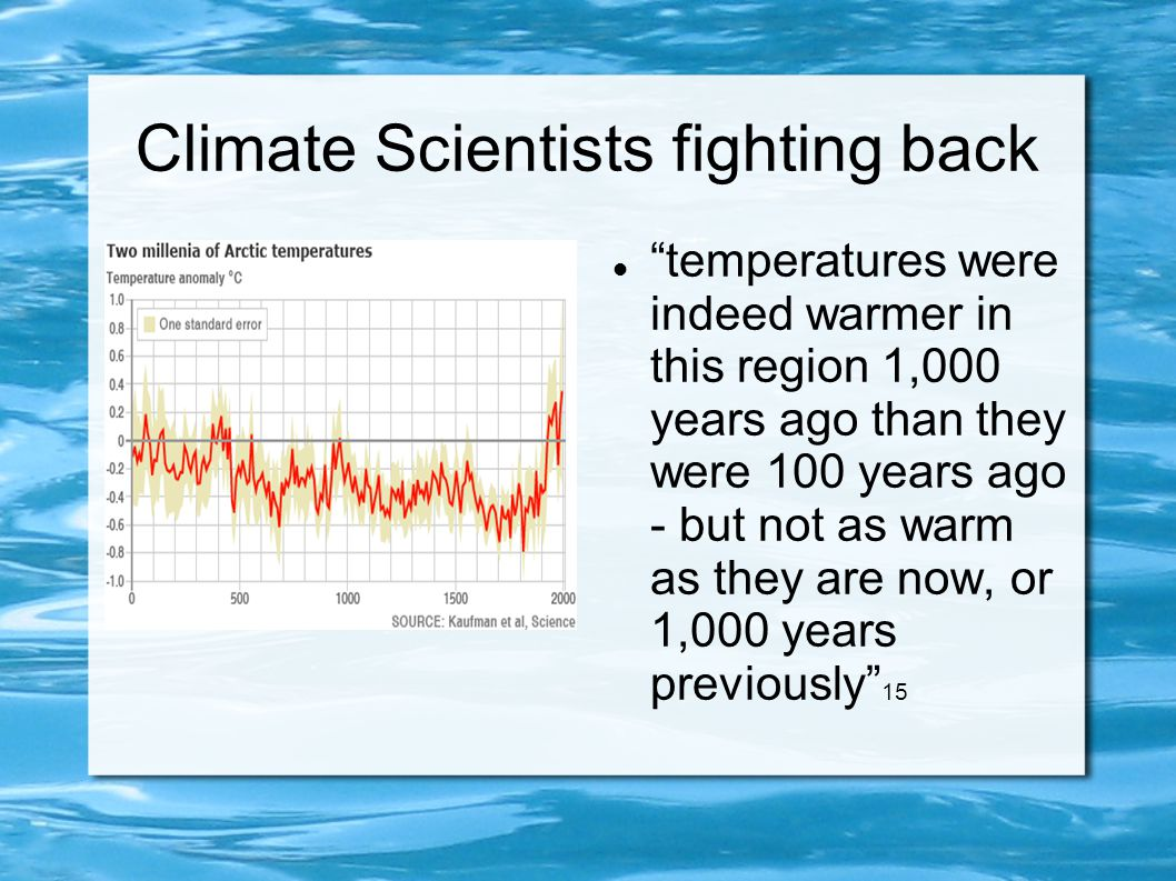 """Climate Scientists fighting back """"temperatures were indeed warmer in this region 1,000 years ago than they were 100 years ago - but not as warm as the"""