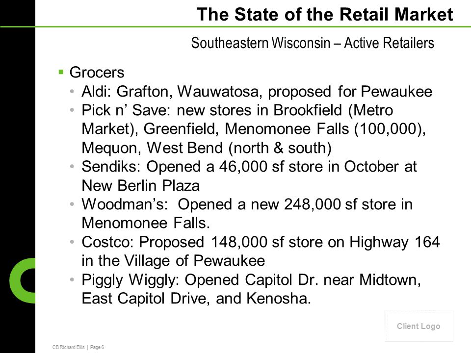 CB Richard Ellis | Page 6 Client Logo The State of the Retail Market  Grocers Aldi: Grafton, Wauwatosa, proposed for Pewaukee Pick n' Save: new stores in Brookfield (Metro Market), Greenfield, Menomonee Falls (100,000), Mequon, West Bend (north & south) Sendiks: Opened a 46,000 sf store in October at New Berlin Plaza Woodman's: Opened a new 248,000 sf store in Menomonee Falls.