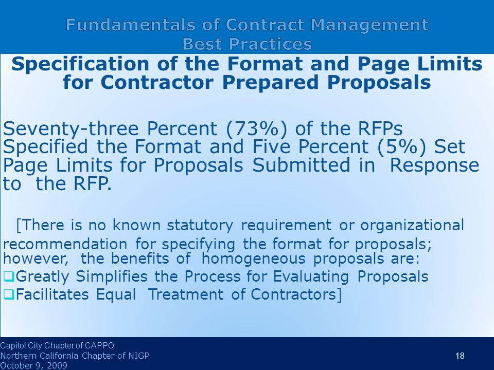 Specification of the Format and Page Limits for Contractor Prepared Proposals Seventy-three Percent (73%) of the RFPs Specified the Format and Five Percent (5%) Set Page Limits for Proposals Submitted in Response to the RFP.