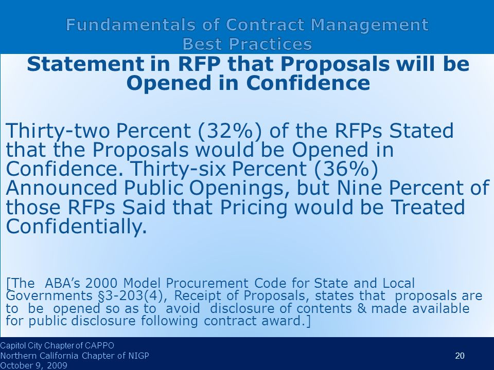 Statement in RFP that Proposals will be Opened in Confidence Thirty-two Percent (32%) of the RFPs Stated that the Proposals would be Opened in Confidence.