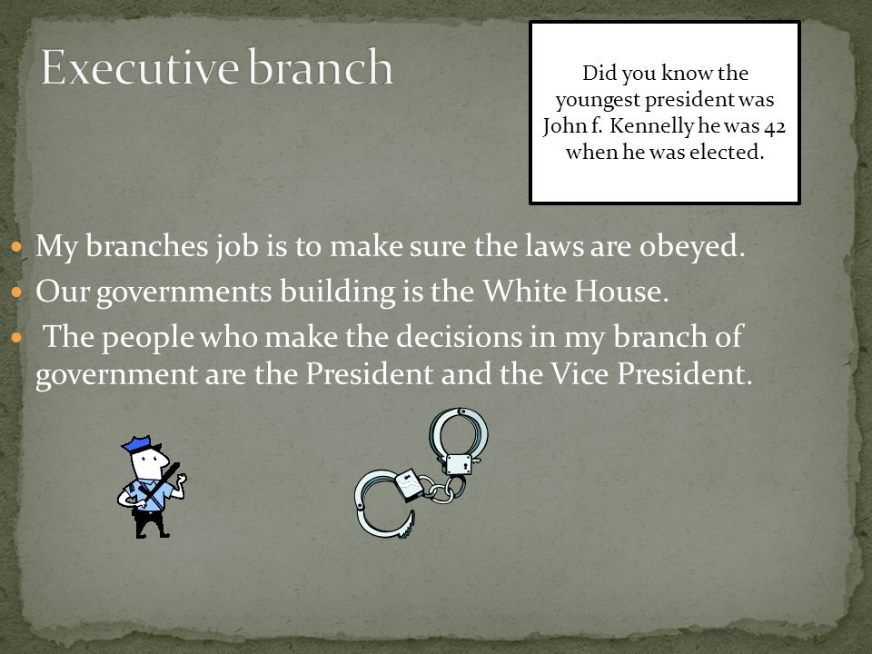 My branches job is to make sure the laws are obeyed.