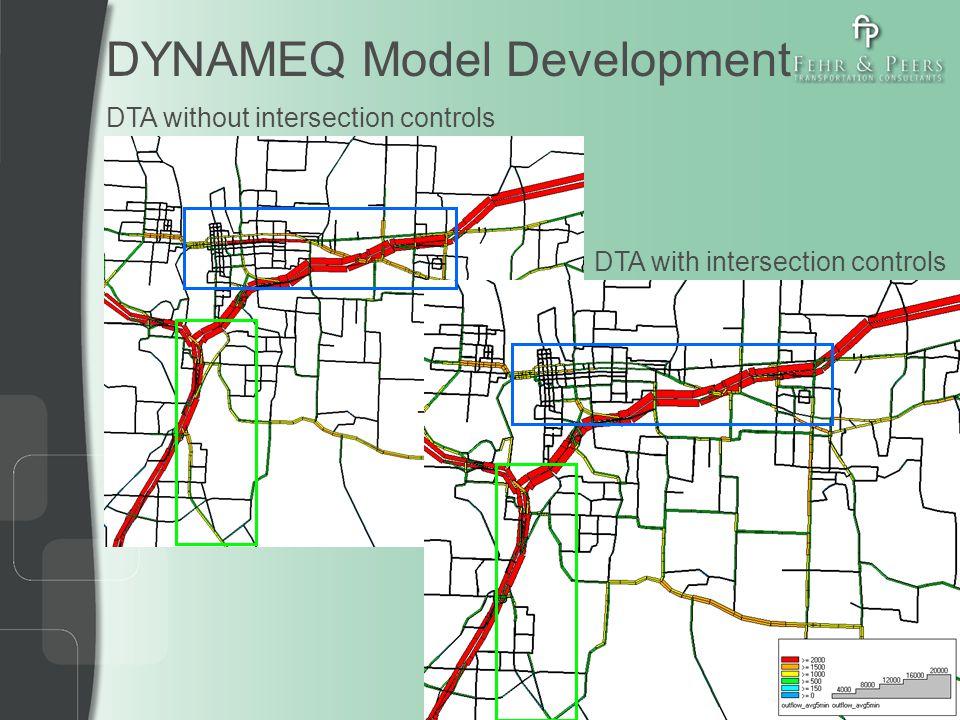 DYNAMEQ Model Development DTA with intersection controls DTA without intersection controls