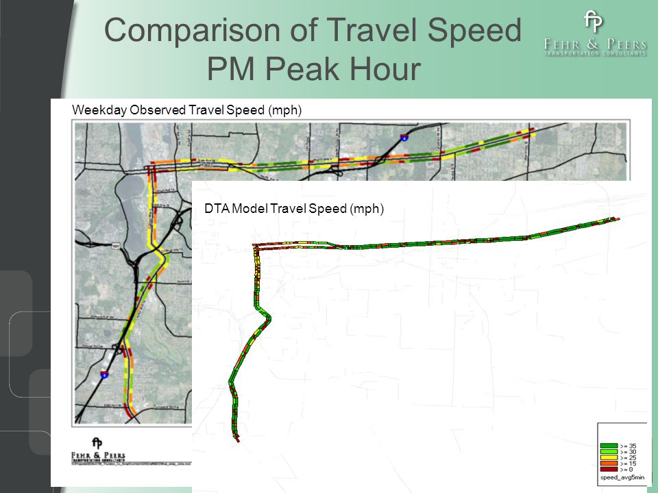 Comparison of Travel Speed PM Peak Hour Weekday Observed Travel Speed (mph) DTA Model Travel Speed (mph)