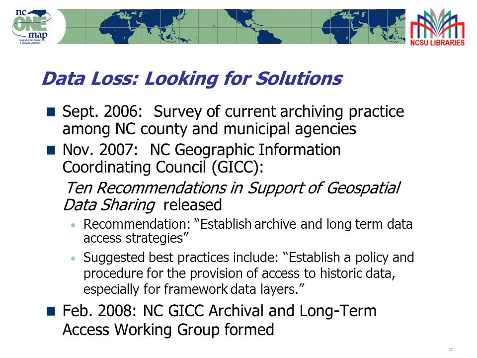 23 Data Loss: Looking for Solutions Sept.