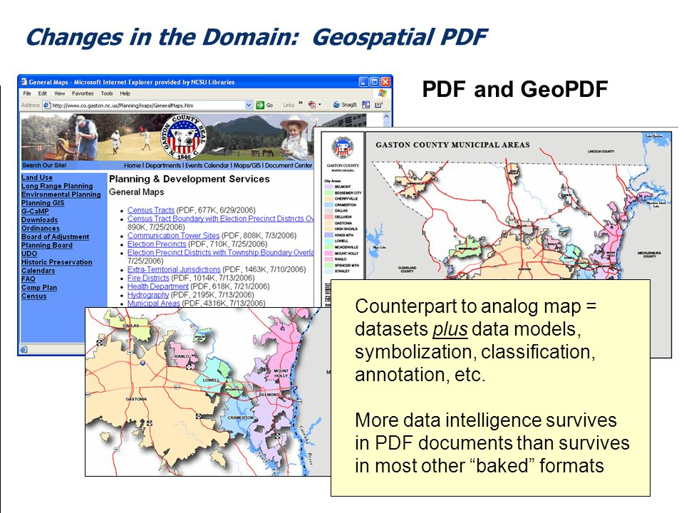 35 Changes in the Domain: Geospatial PDF Counterpart to analog map = datasets plus data models, symbolization, classification, annotation, etc.