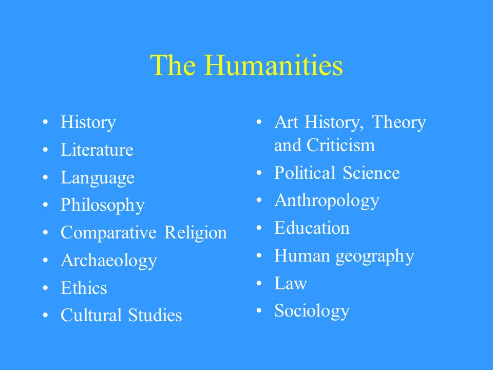 The Humanities History Literature Language Philosophy Comparative Religion Archaeology Ethics Cultural Studies Art History, Theory and Criticism Political Science Anthropology Education Human geography Law Sociology