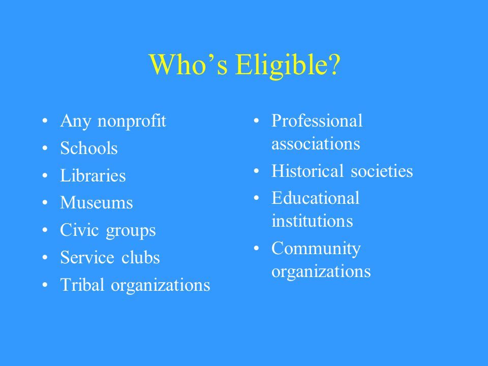 Who's Eligible.