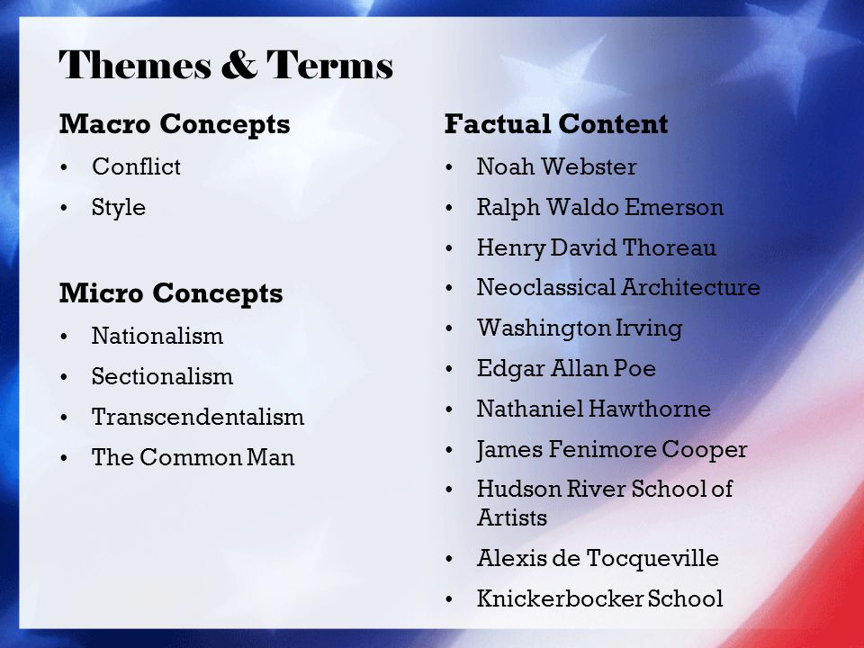 Macro Concepts Conflict Style Micro Concepts Nationalism Sectionalism Transcendentalism The Common Man Factual Content Noah Webster Ralph Waldo Emerson Henry David Thoreau Neoclassical Architecture Washington Irving Edgar Allan Poe Nathaniel Hawthorne James Fenimore Cooper Hudson River School of Artists Alexis de Tocqueville Knickerbocker School Themes & Terms