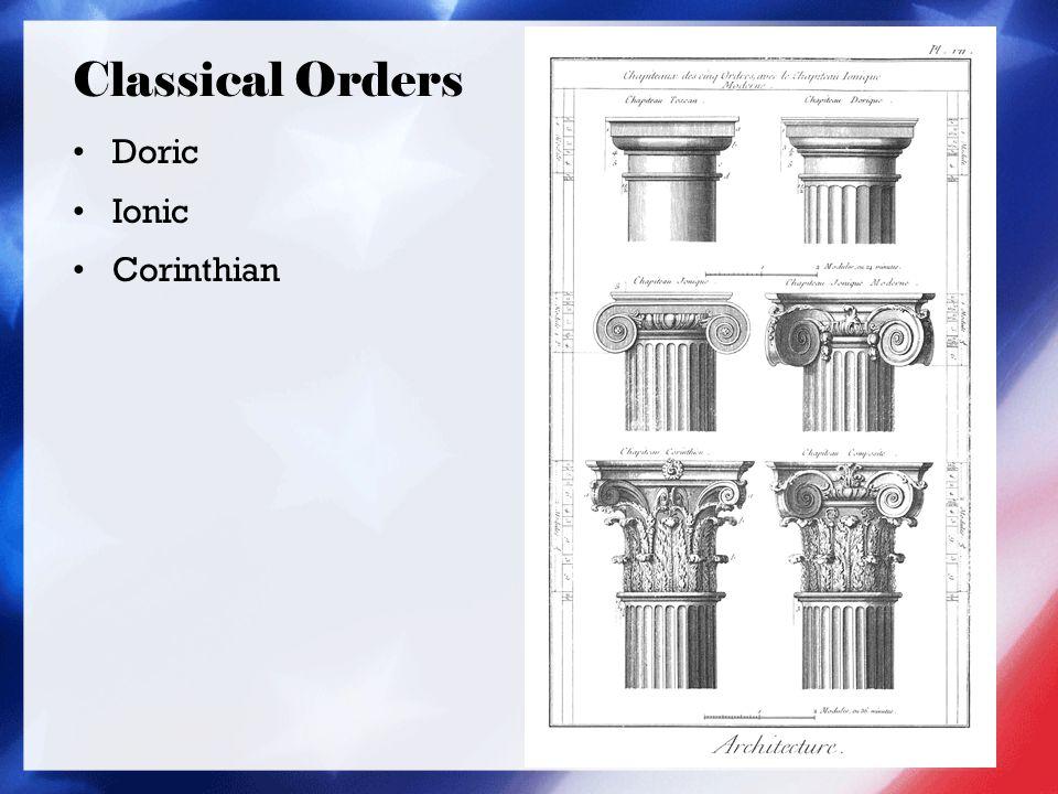 Classical Orders Doric Ionic Corinthian