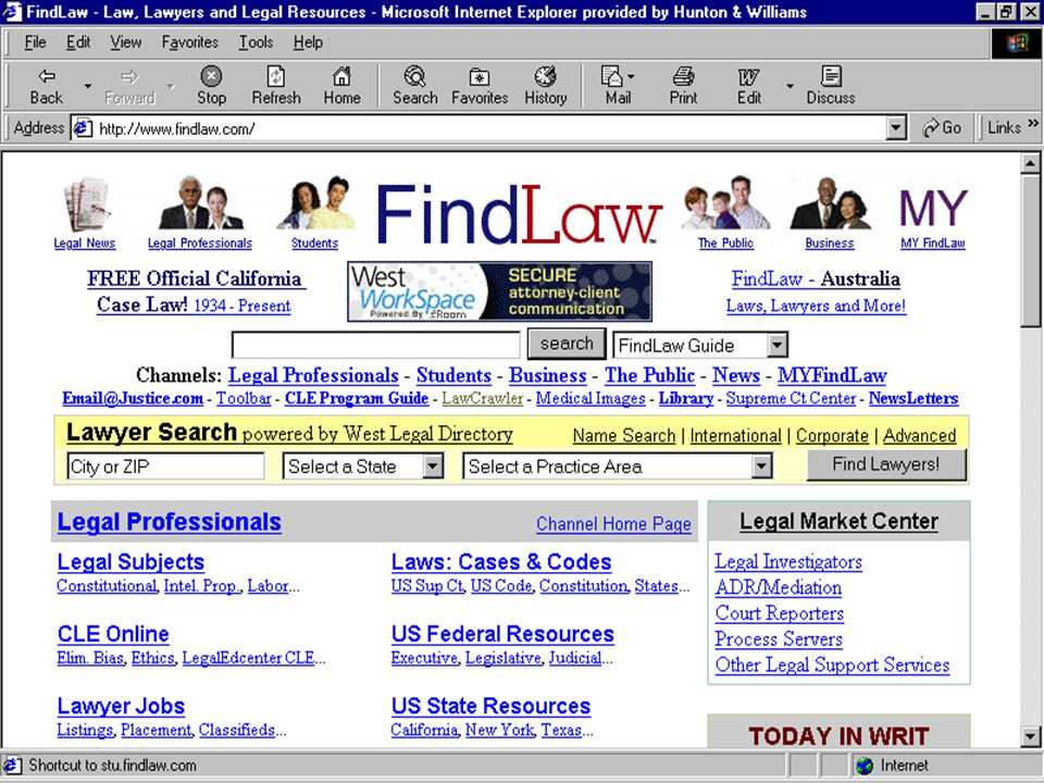 UNIVERSITY WEB SITES u HTTP://WWW.LAW.EMORY.EDU/ –Electronic Reference Desk; Federal Courts Finder u HTTP://WWW.WASHLAW.EDU/ –links to subjects from the 1st Circuit to Alabama to Zip Codes u HTTP://WWW.LAW.CORNELL.EDU/ –Legal Information Institute - Cornell Law School –nominated for a 2001 Webby award in the field of government and law –brief summaries of legal topics written by LII student editors; links to codes and court opinions