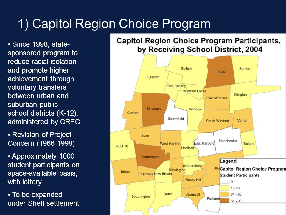 1) Capitol Region Choice Program Since 1998, state- sponsored program to reduce racial isolation and promote higher achievement through voluntary transfers between urban and suburban public school districts (K-12); administered by CREC Revision of Project Concern (1966-1998) Approximately 1000 student participants on space-available basis, with lottery To be expanded under Sheff settlement