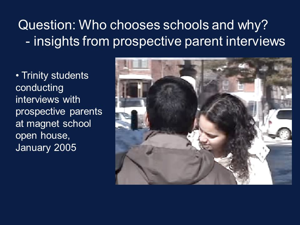 Question: Who chooses schools and why.