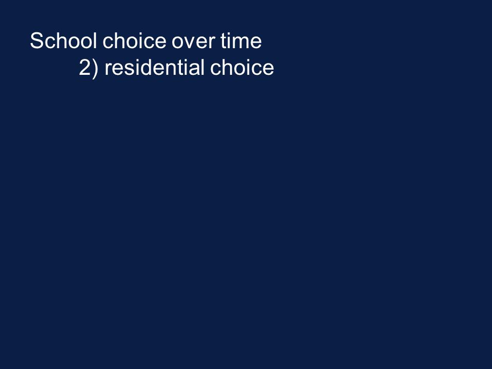 School choice over time 2) residential choice