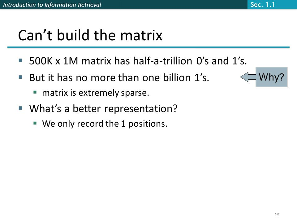 Introduction to Information Retrieval Can't build the matrix  500K x 1M matrix has half-a-trillion 0's and 1's.
