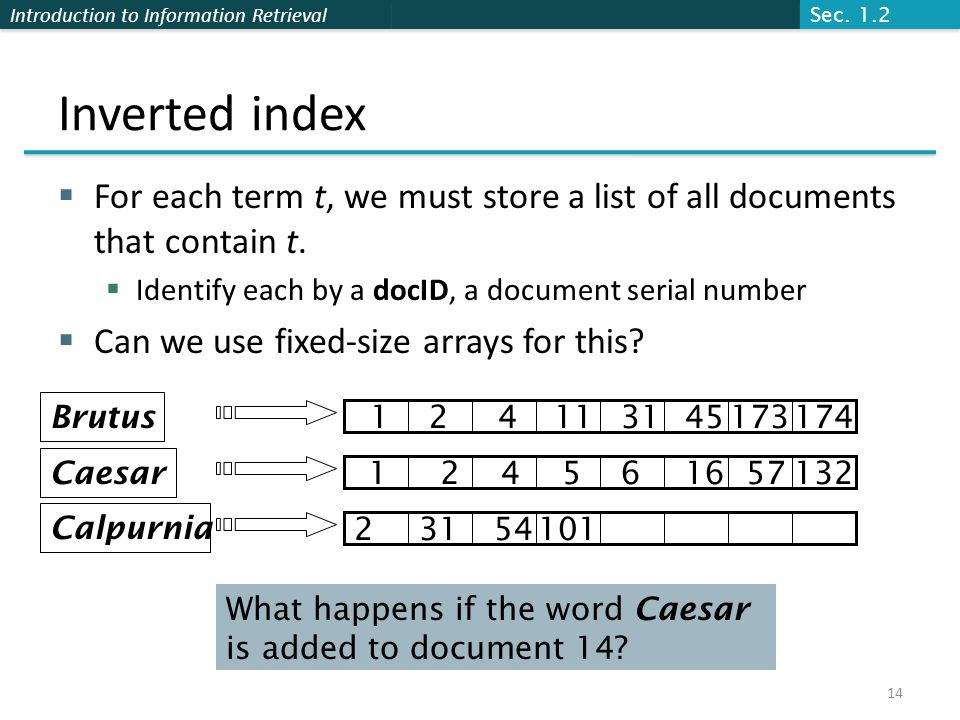 Introduction to Information Retrieval Inverted index  For each term t, we must store a list of all documents that contain t.