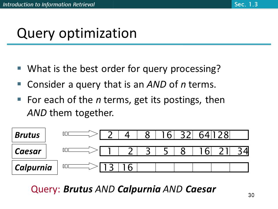 Introduction to Information Retrieval Query optimization  What is the best order for query processing.