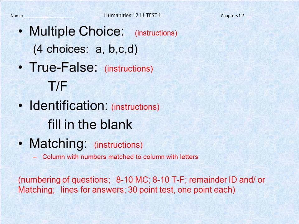 Sample PowerPoint Presentation: (see syllabus for specific requirements) Please note: No sentences allowed.