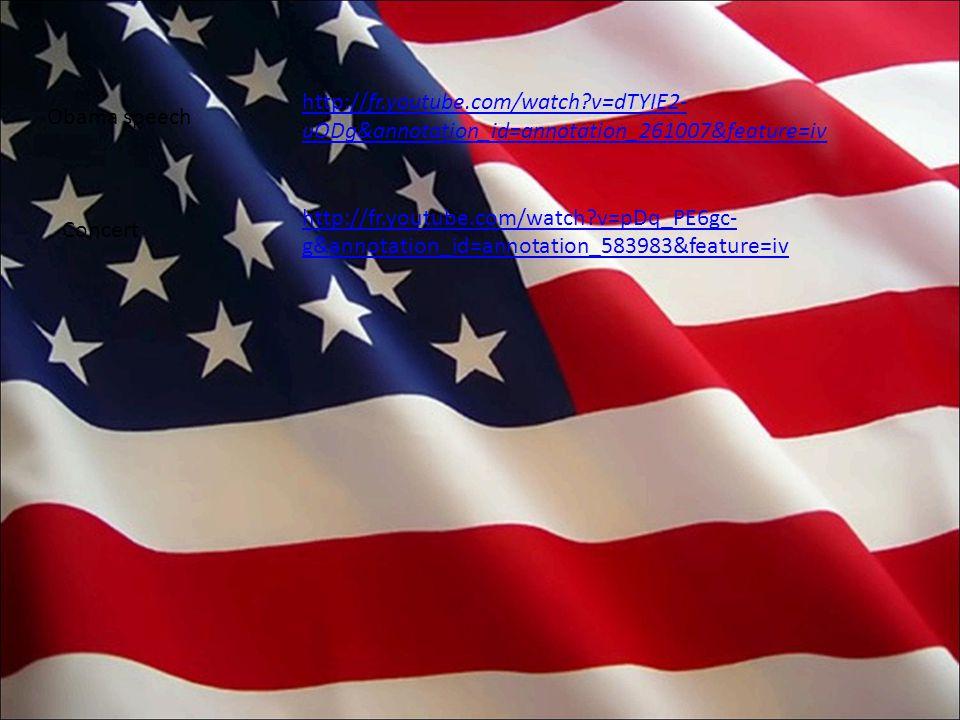 http://fr.youtube.com/watch v=dTYIE2- uODg&annotation_id=annotation_261007&feature=iv http://fr.youtube.com/watch v=pDq_PE6gc- g&annotation_id=annotation_583983&feature=iv Obama speech Concert
