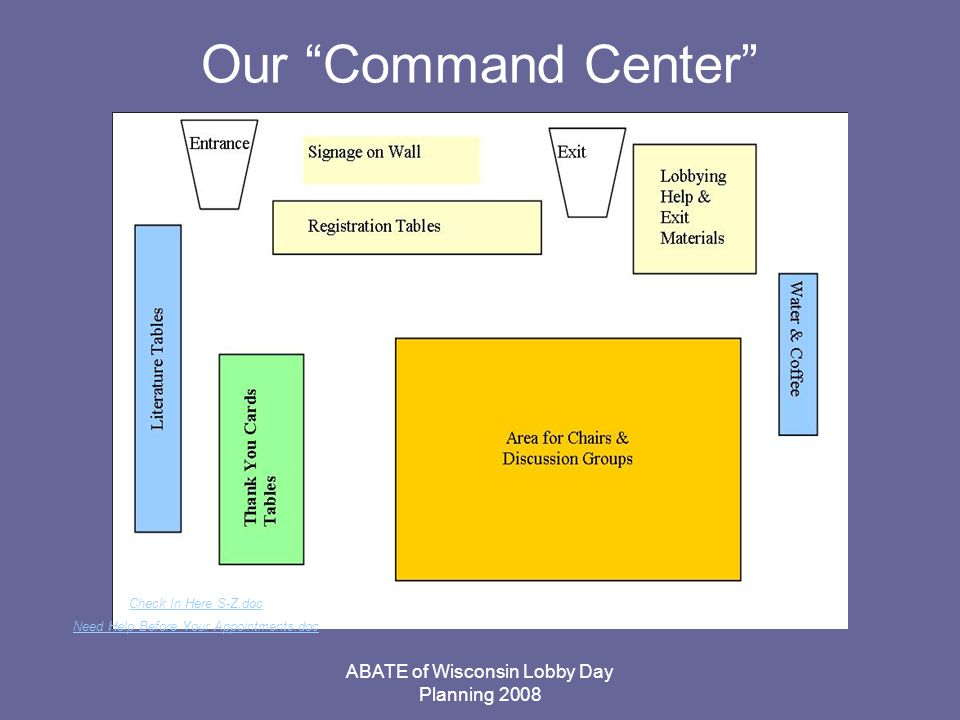 ABATE of Wisconsin Lobby Day Planning 2008 Our Command Center Check In Here S-Z.doc Need Help Before Your Appointments.doc