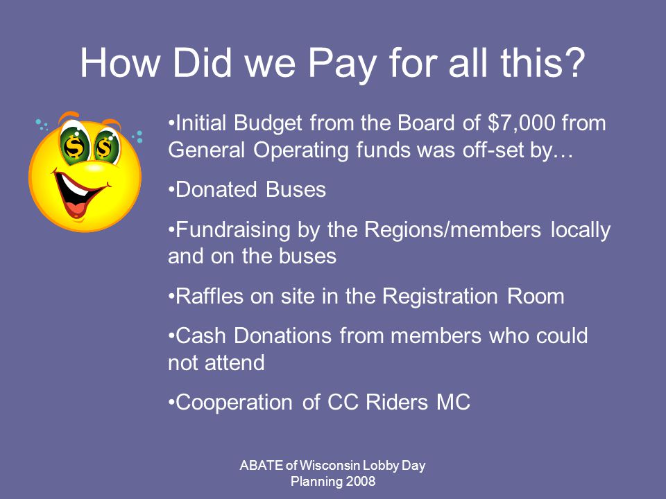 ABATE of Wisconsin Lobby Day Planning 2008 How Did we Pay for all this.
