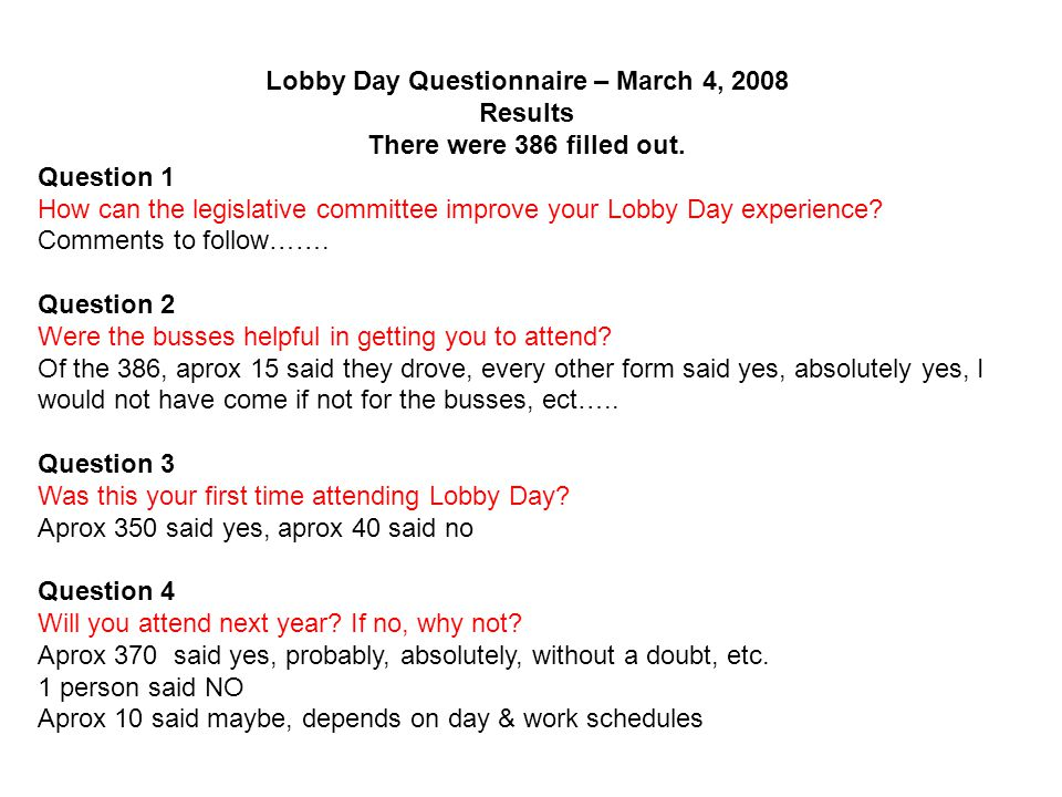Lobby Day Questionnaire – March 4, 2008 Results There were 386 filled out.