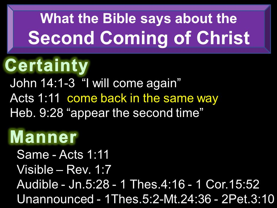 What the Bible says about the Second Coming of Christ John 14:1-3 I will come again Acts 1:11 come back in the same way Heb.