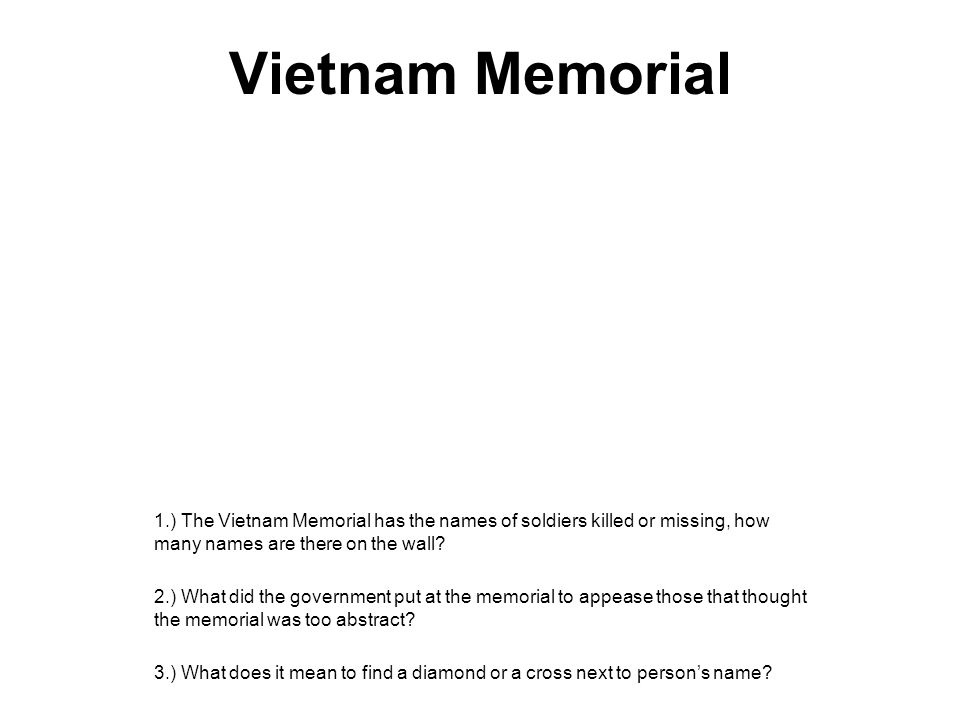 Vietnam Memorial 1.) The Vietnam Memorial has the names of soldiers killed or missing, how many names are there on the wall? 2.) What did the governme