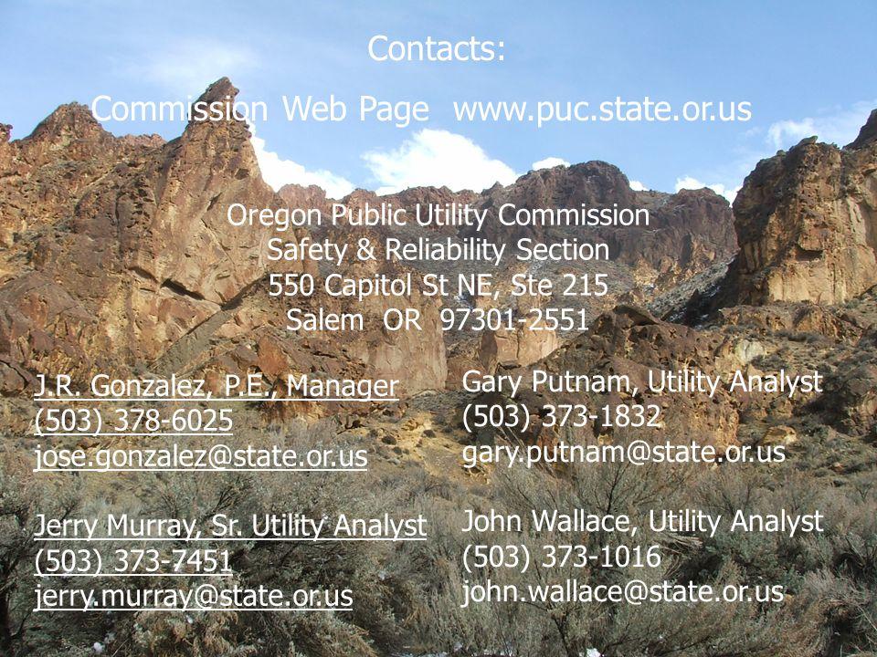 24 Oregon Public Utility Commission Safety & Reliability Section 550 Capitol St NE, Ste 215 Salem OR 97301-2551 Contacts: Commission Web Page www.puc.