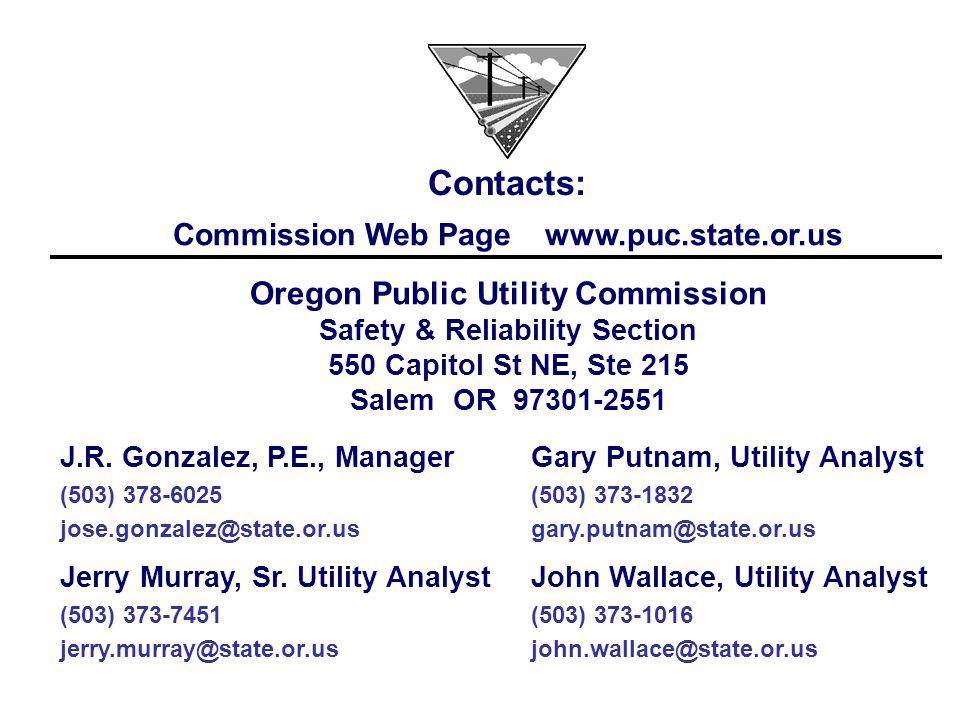 John Wallace, Utility Analyst (503) 373-1016 john.wallace@state.or.us Jerry Murray, Sr. Utility Analyst (503) 373-7451 jerry.murray@state.or.us Gary P