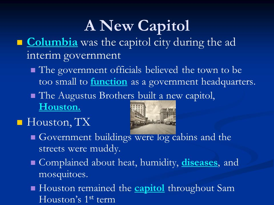 A New Capitol Columbia was the capitol city during the ad interim government The government officials believed the town to be too small to function as a government headquarters.