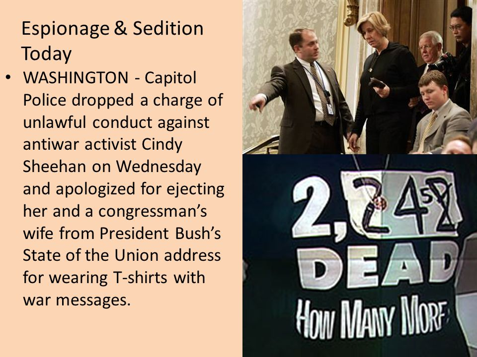 WASHINGTON - Capitol Police dropped a charge of unlawful conduct against antiwar activist Cindy Sheehan on Wednesday and apologized for ejecting her and a congressman's wife from President Bush's State of the Union address for wearing T-shirts with war messages.