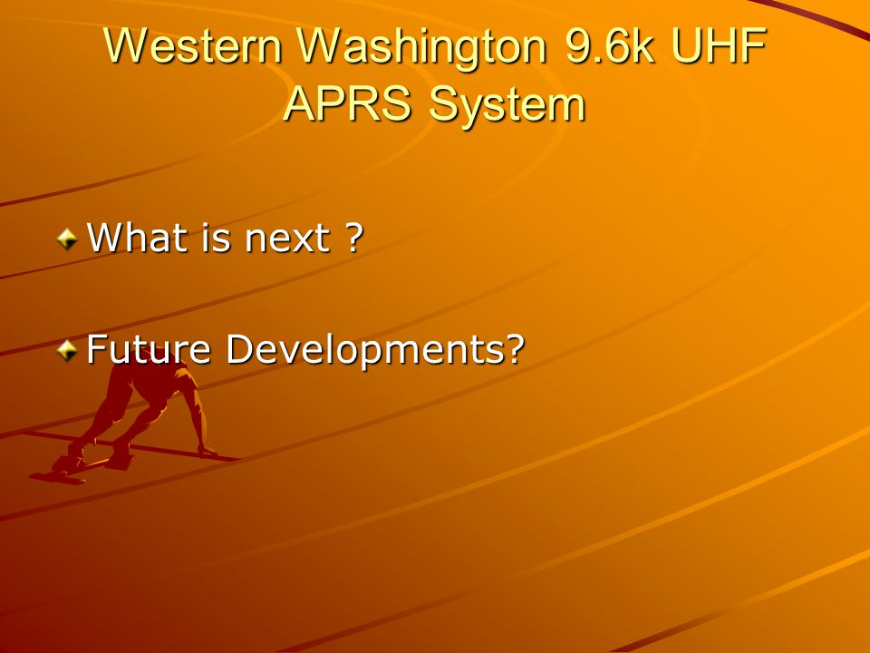 Western Washington 9.6k UHF APRS System Bob – K7OFT posted to the NWAPRS SIG on Feb 2, 2007: I am thinking about changing the UHF 9k6B APRS network preferred paths to U1-1,U2-1 for mobile stations and U2-2 for all other UHF 9k6B APRS stations.