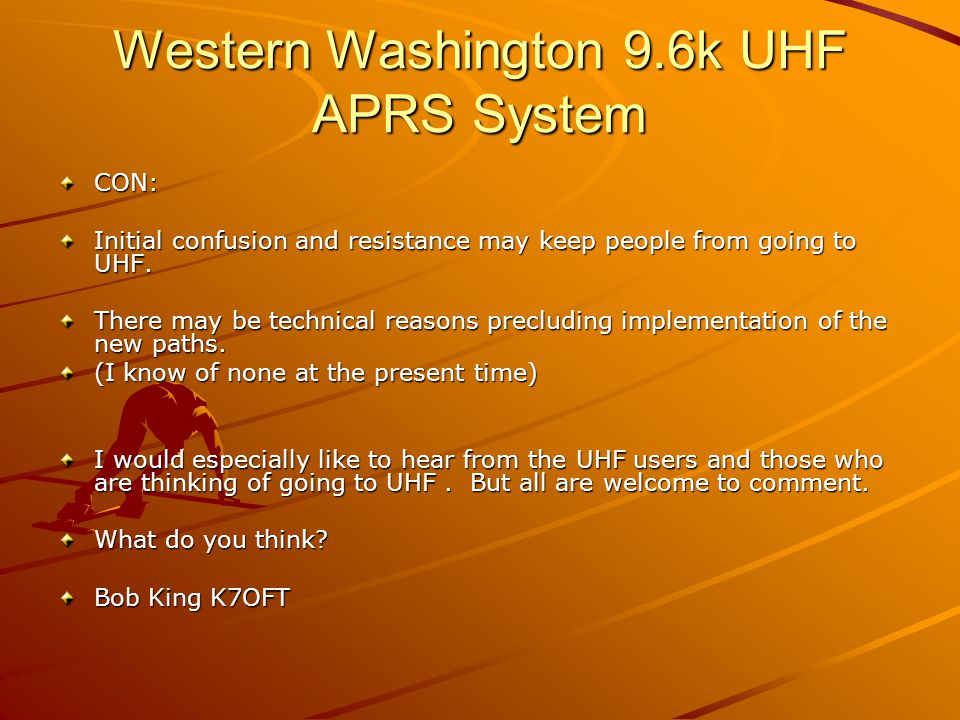 Western Washington 9.6k UHF APRS System Lets all meet Bob – K7OFT