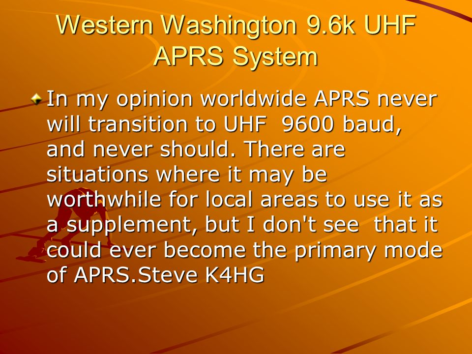 Western Washington 9.6k UHF APRS System Bob Bruninga wrote:...> VHF is 9 dB better than UHF for omni antnenas (think mobiles) AND it has less multipath and fades.