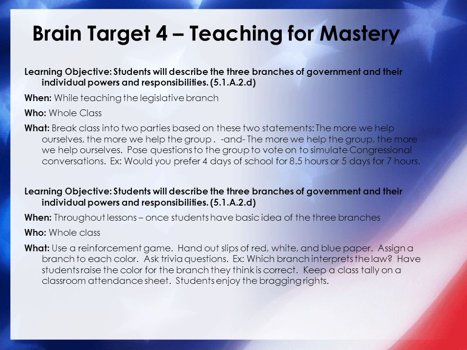 Brain Target 4 – Teaching for Mastery Learning Objective: Students will describe the three branches of government and their individual powers and responsibilities.