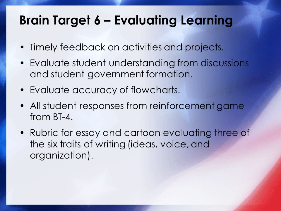 Brain Target 6 – Evaluating Learning Timely feedback on activities and projects.