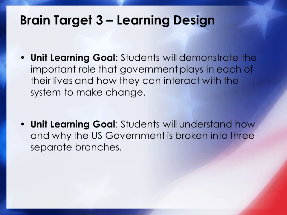 Brain Target 3 – Learning Design Unit Learning Goal: Students will demonstrate the important role that government plays in each of their lives and how they can interact with the system to make change.