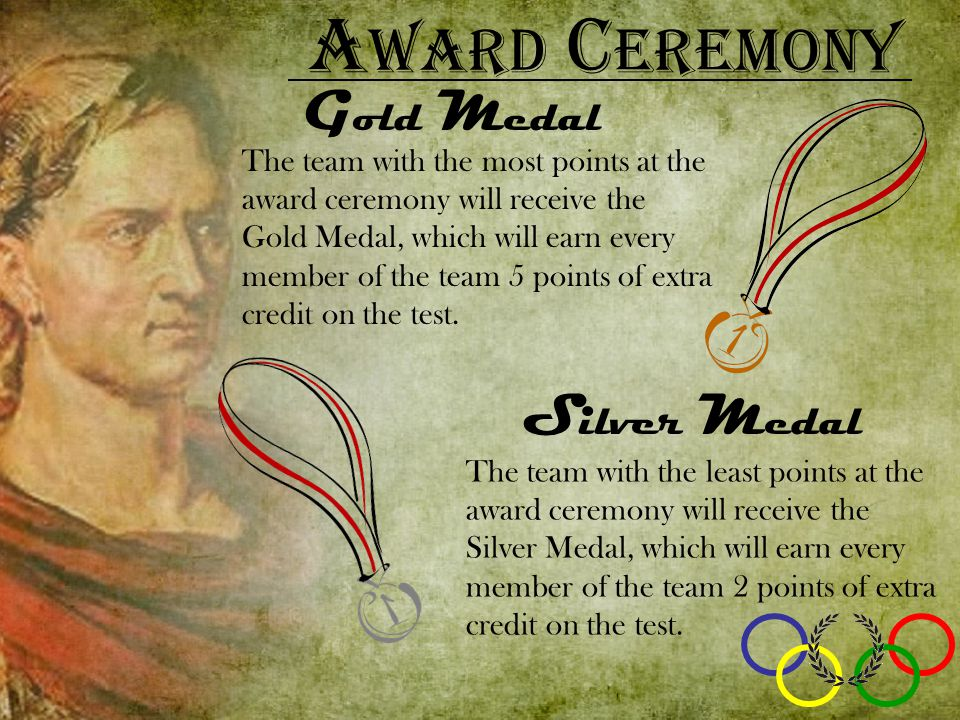 A ward C eremony G old M edal S ilver M edal The team with the least points at the award ceremony will receive the Silver Medal, which will earn every member of the team 2 points of extra credit on the test.