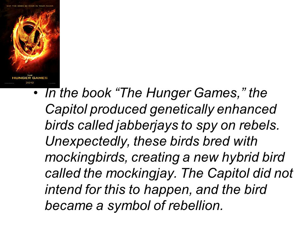 In the book The Hunger Games, the Capitol produced genetically enhanced birds called jabberjays to spy on rebels.