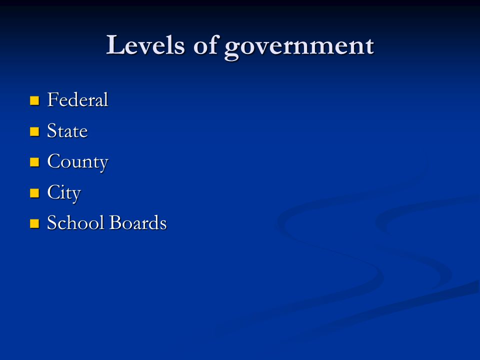 Levels of government Federal Federal State State County County City City School Boards School Boards