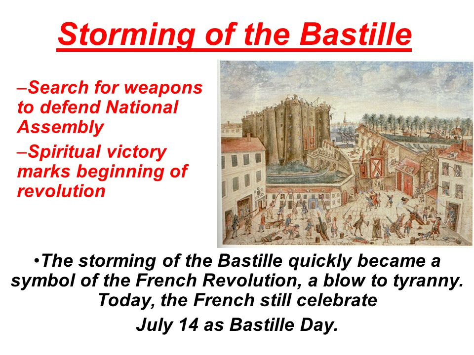 Storming of the Bastille On July 14, 1789, more than 800 Parisians gathered outside the Bastille, a medieval fortress used as a prison. They demanded