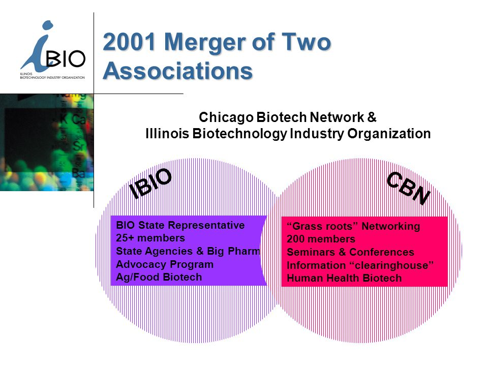 2001 Merger of Two Associations IBIO Chicago Biotech Network & Illinois Biotechnology Industry Organization BIO State Representative 25+ members State Agencies & Big Pharma Advocacy Program Ag/Food Biotech Grass roots Networking 200 members Seminars & Conferences Information clearinghouse Human Health Biotech CBN