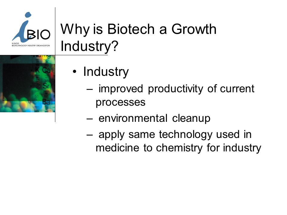 Biotech in Midwest: Issues Lack of anchor biotech company in region Most local companies at discovery stage Lack of biotech/pharma serial entrepreneurs in area Lack of cluster effect due to distance between states mini – clusters not big enough How to progress our companies up the food chain Other states' incentives: Michigan, Wisconsin, New Jersey Difficult financial environment (State & City Budgets) Consolidation of big pharma & local impact.