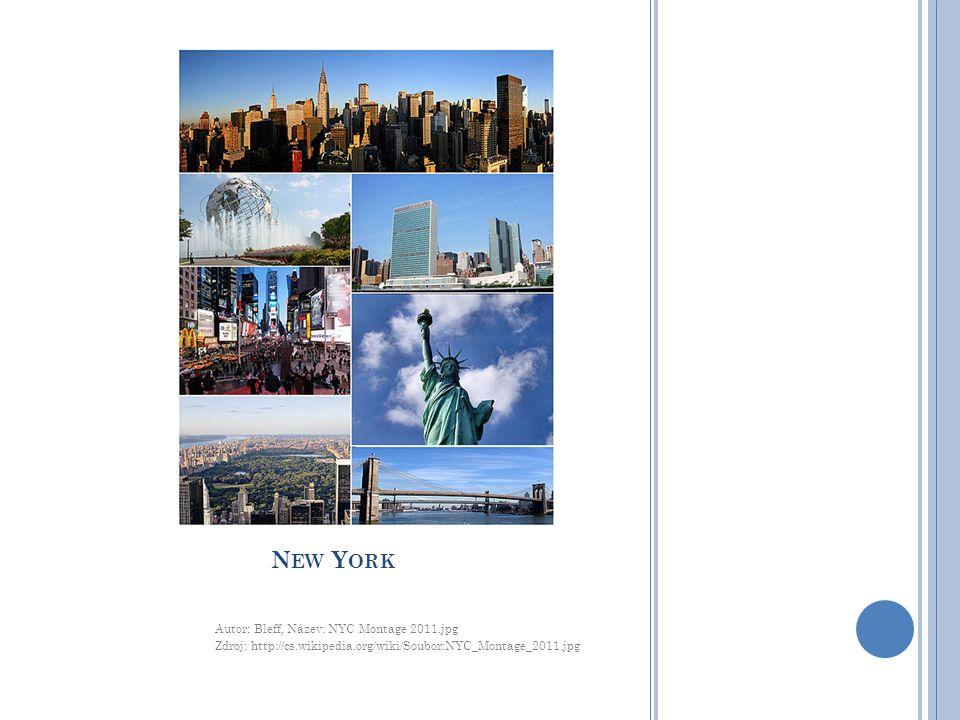 N EW Y ORK Autor: Bleff, Název: NYC Montage 2011.jpg Zdroj: http://cs.wikipedia.org/wiki/Soubor:NYC_Montage_2011.jpg